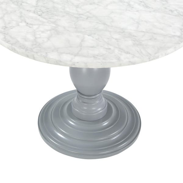 Cosmoliving Waverly Faux Marble Grey Pedestal Dining