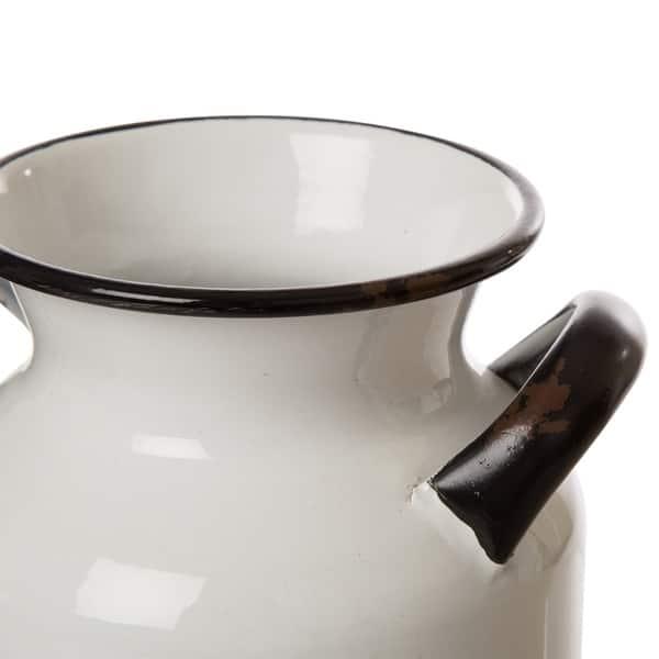 Glitzhome 8 H Farmhouse Metal Enamel Milk Can Decor Overstock 27195907