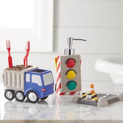 Dream Factory Trains and Trucks 3 Piece Bath Accessories Set - Grey