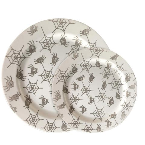 "Party Joy 30-Pcs Plastic Dinnerware Set, Fun Spider Webs Collection,(15) 10.25"" Dinner Plates &(15) 7.5"" Salad Plates"