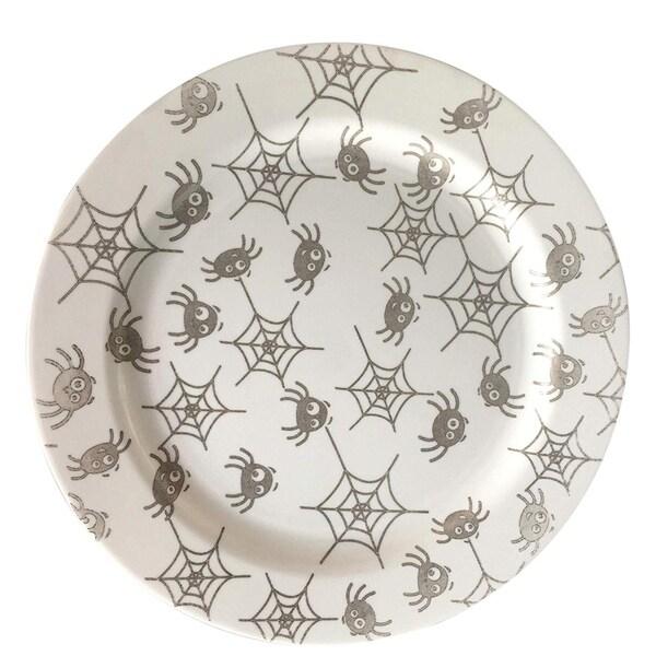"Party Joy 30-Pcs Plastic Dinnerware Set, Halloween Plates, Fun Spider Webs Collection,(30) 10.25"" Dinner Plates"