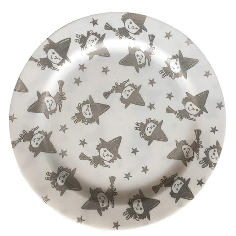"Party Joy 30-Pcs Plastic Dinnerware Set, Halloween Plates, Happy Witches Collection,(30) 7.5"" Salad Plates"