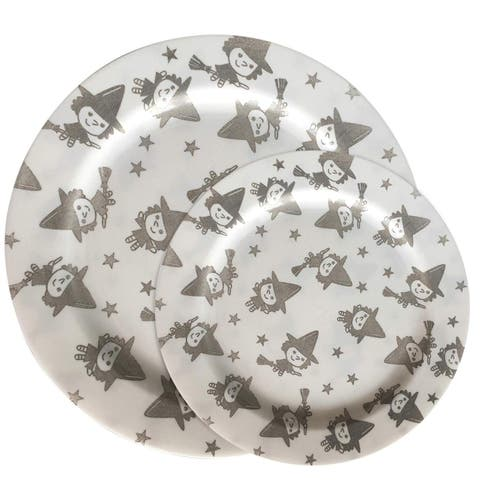 "Party Joy 30-Pcs Plastic Dinnerware Set, Happy Witches Collection,(15) 10.25"" Dinner Plates &(15) 7.5"" Salad Plates"