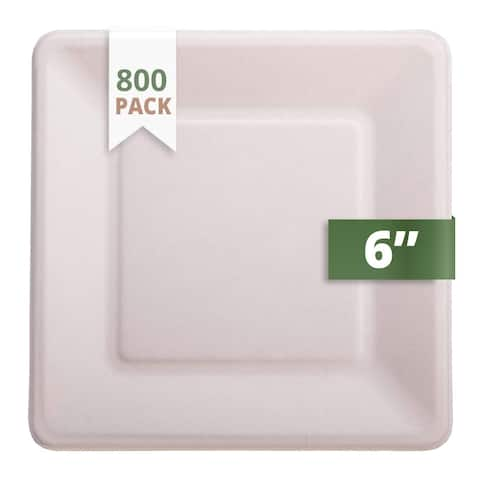 """CaterEco Bagasse 6"""" Square Plate, 800 Pack, Ecofriendly Disposable Dinnerware"""