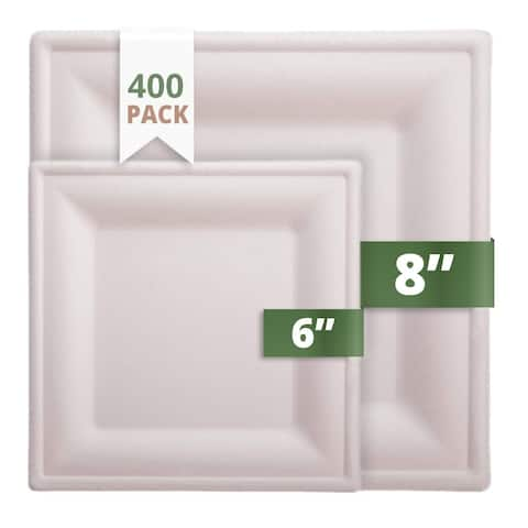 """CaterEco Bagasse 6"""" & 8"""" Square Plates, 400 Pack, Ecofriendly Disposable Dinnerware"""