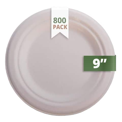 """CaterEco Natural Bagasse 9"""" Plate, 800 Pack, Ecofriendly Disposable Dinnerware"""