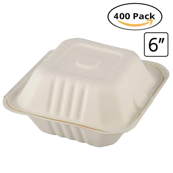 """CaterEco Bagasse 6"""" Clampshell Box, 400 Pack, Ecofriendly Disposable Dinnerware. Opens flyout."""