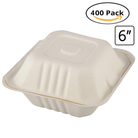 """CaterEco Bagasse 6"""" Clampshell Box, 400 Pack, Ecofriendly Disposable Dinnerware"""