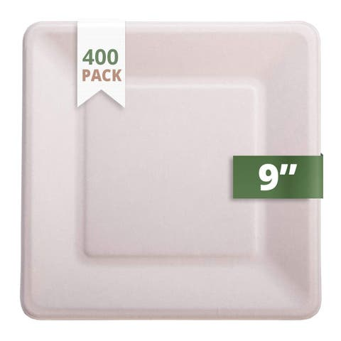 """CaterEco Bagasse 6"""" Square Plate, 400 Pack, Ecofriendly Disposable Dinnerware"""
