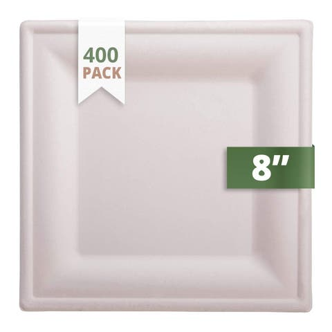 """CaterEco Bagasse 8"""" Square Plate, 400 Pack, Ecofriendly Disposable Dinnerware"""