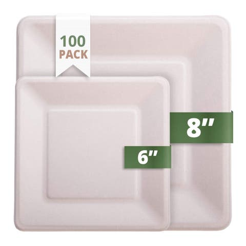 "CaterEco Bagasse 6"" & 8"" Square Plates"