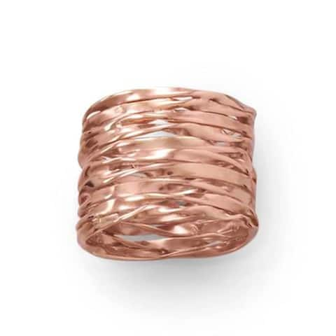 Handmade Stering Silver Intertwined Wide Ring in RoseGold Plating - Rose