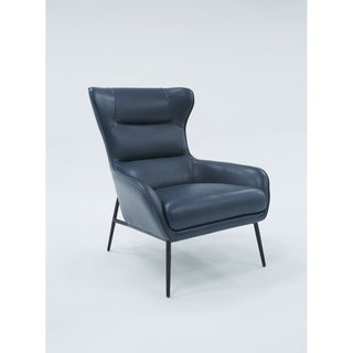 Divani Casa Susan Modern Blue Leatherette Lounge Chair