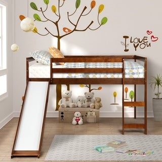Taylor & Olive Christian Rubber Wood Twin Loft Bed with Slide