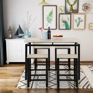 Harper & Bright Designs Wood and Metal 5-Piece Dining Set