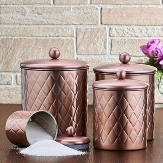4 Pc. Rose Gold Embossed Diamond Canister Set, 4¾ Qt,  3¾ Qt,  2¼ Qt,  ¾ Qt - Rose Gold