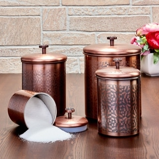 "4 Pc. Antique Copper ""Geometric"" Canister Set, 4¾ Qt, 3¾ Qt, 2¼ Qt, ¾ Qt - Antique Copper"