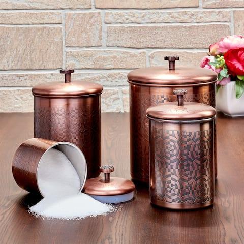"4 Pc. Antique Copper ""Geometric"" Canister Set, 4¾ Qt, 3¾ Qt, 2¼ Qt, ¾ Qt - Antique Copper"