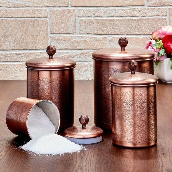 "4 Pc. Antique Copper ""Floral"" Canister Set, 4¾ Qt, 3¾ Qt, 2¼ Qt, ¾ Qt - Antique Copper"