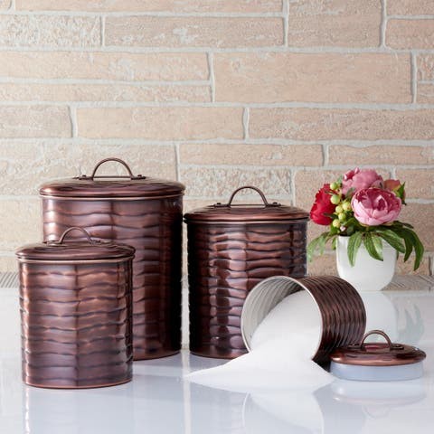 "4 Pc. Antique Copper ""Wave"" Canister Set Fresh Seal® Covers, 4 Qt, 2 Qt, 1½ Qt, 1 Qt."