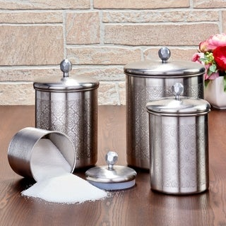 "4 Pc. Brushed Nickel ""Floral"" Canister Set, 4¾ Qt, 3¾ Qt, 2¼ Qt, ¾ Qt"