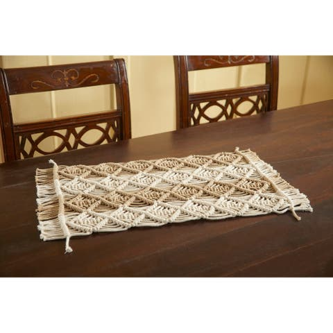 Place Mat Pan-004 Two Tone 12X18 Beige Ivory