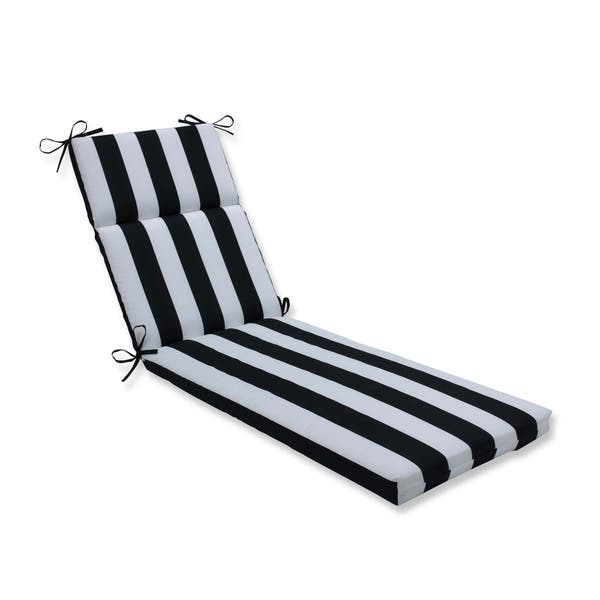 Cabana Stripe Black Chaise Lounge Cushion 75x2x1x3