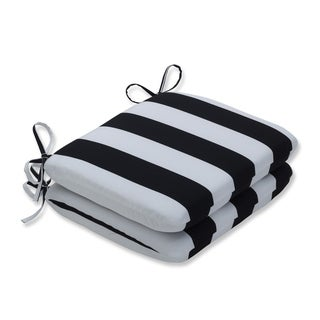 Cabana Stripe Black Rounded Corners Seat Cushion (Set of 2)