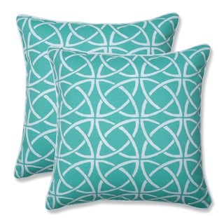 Catamaran Tile Aqua 16.5-inch Throw Pillow (Set of 2)
