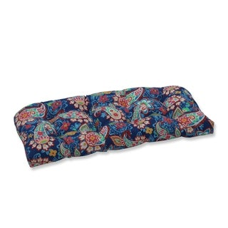 Paisley Party Blue Wicker Loveseat Cushion