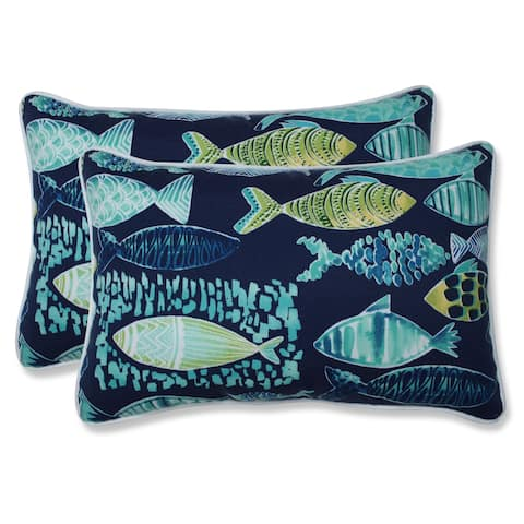 Hooked Lagoon Rectangular Throw Pillow (Set of 2)