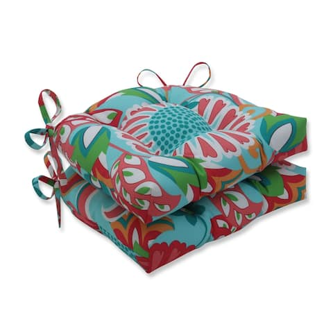 Sophia Turquoise/Coral Reversible Chair Pad (Set of 2)