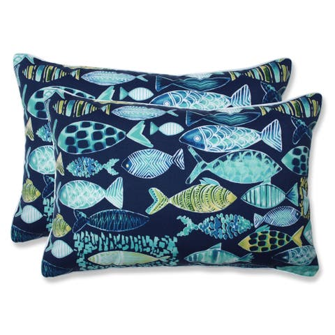 Hooked Lagoon Over-sized Rectangular Throw Pillow (Set of 2)