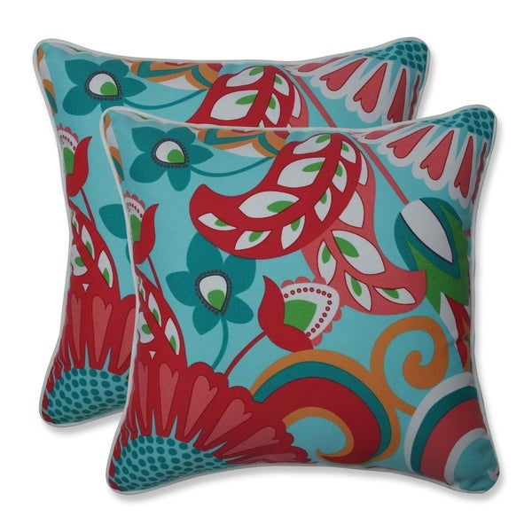 Shop Sophia Turquoise Coral 16 5 Inch Throw Pillow Set Of 2 Free