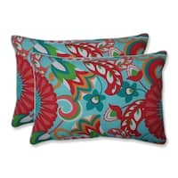 Sophia Turquoise/Coral Over-sized Rectangular Throw Pillow (Set of 2)