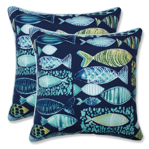 Hooked Lagoon 16.5-inch Throw Pillow (Set of 2)