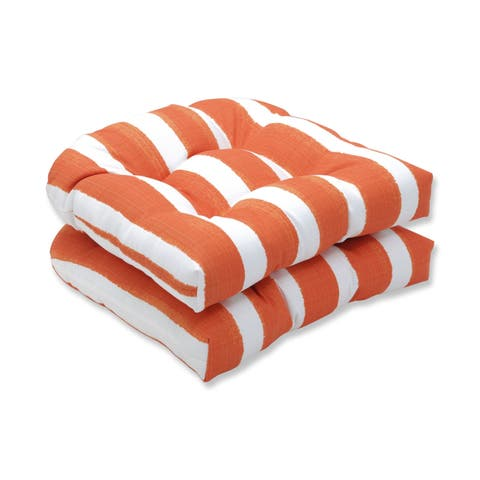 Porch & Den Lakeview Striped Wicker Seat Cushion (Set of 2)