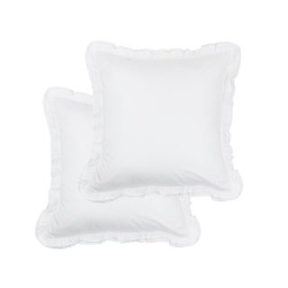 300 Thread Count Cotton Percale Double Ruffle Sham Cover Set