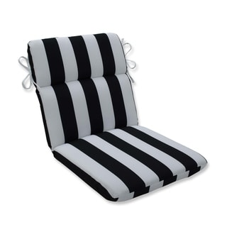 Cabana Stripe Black Rounded Corners Chair Cushion