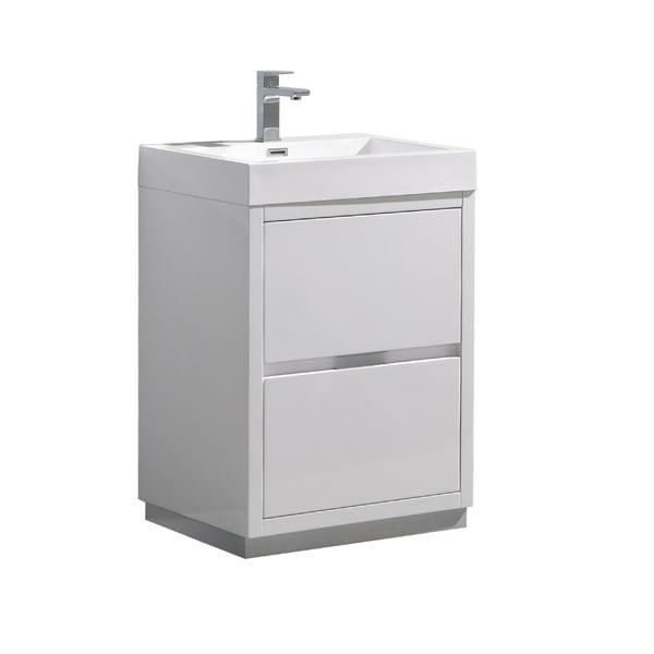 "Fresca Valencia 24"" Glossy White Free Standing Modern Bathroom Vanity - N/A"
