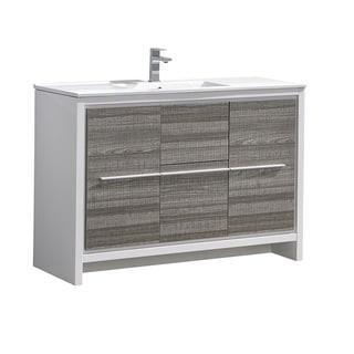 """Fresca Allier Rio 48"""" Ash Gray Single Sink Modern Bathroom Cabinet w/ Sink"""