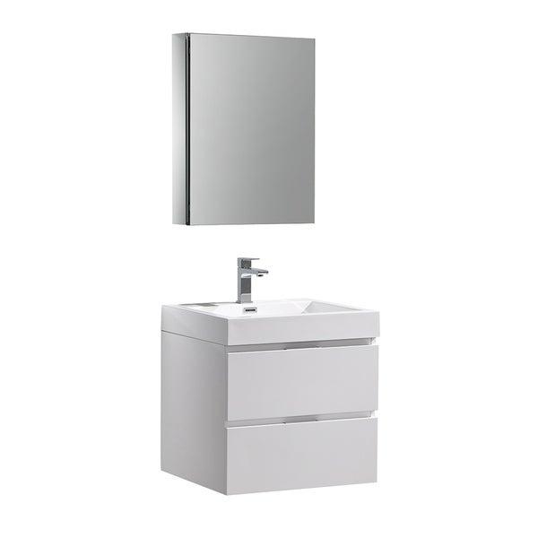 "Fresca Valencia 24"" Glossy White Wall Hung Modern Bathroom Vanity w/ Medicine Cabinet"