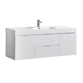 "Fresca Valencia 60"" Glossy White Wall Hung Modern Bathroom Vanity"