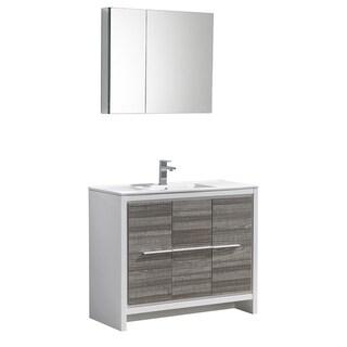 "Fresca Allier Rio 40"" Ash Gray Modern Bathroom Vanity w/ Medicine Cabinet"