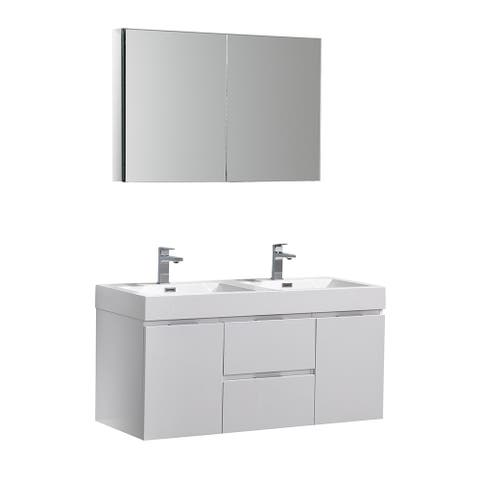 "Fresca Valencia 48"" Glossy White Wall Hung Double Sink Modern Bathroom Vanity w/ Medicine Cabinet"