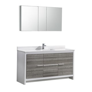 "Fresca Allier Rio 60"" Ash Gray Single Sink Modern Bathroom Vanity w/ Medicine Cabinet"