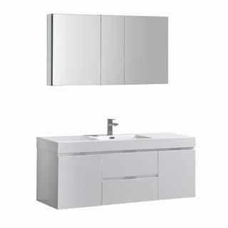 "Fresca Valencia 60"" Glossy White Wall Hung Modern Bathroom Vanity w/ Medicine Cabinet"