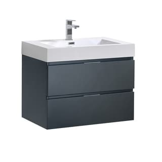"Fresca Valencia 30"" Dark Slate Gray Wall Hung Modern Bathroom Vanity"