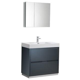 "Fresca Valencia 36"" Dark Slate Gray Free Standing Modern Bathroom Vanity w/ Medicine Cabinet"