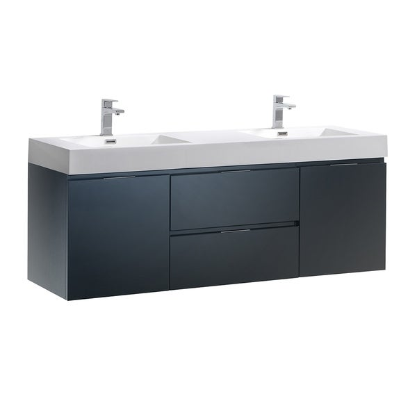 "Fresca Valencia 60"" Dark Slate Gray Wall Hung Double Sink Modern Bathroom Vanity"